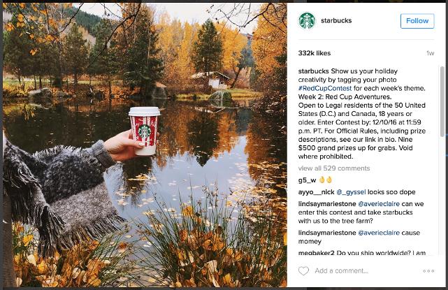 holiday social media posts-starbucks-contest